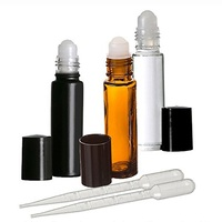 10ml Black cosmetic glass Roll on Bottles