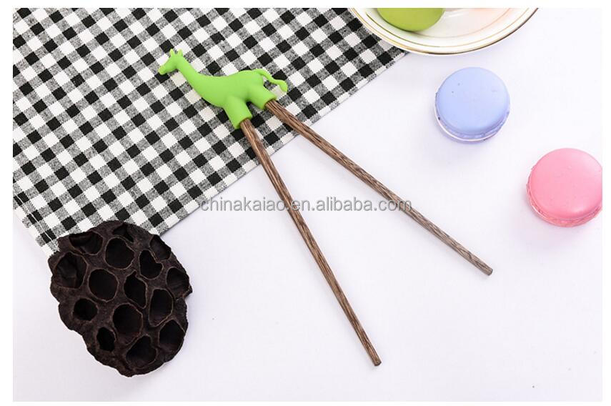 Wooden Cartoon Head Chinese Chopsticks for Toddler Child Kids