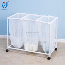 China suppliers 3 bags cheap laundry basket with wheels