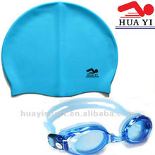 Prescription myopia swim goggles and caps set with free protect case - Blue