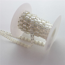 Cheap Crystal White Plastic Rhinestones Trimming Banding Chain Lace Trim