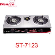 three burner Stainless steel body Automatic piezo ignition gas stove