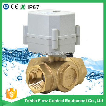 "3 way 1"" DN25 T bore horizontal brass valve DC12V motorized ball valve with 2 control wires"