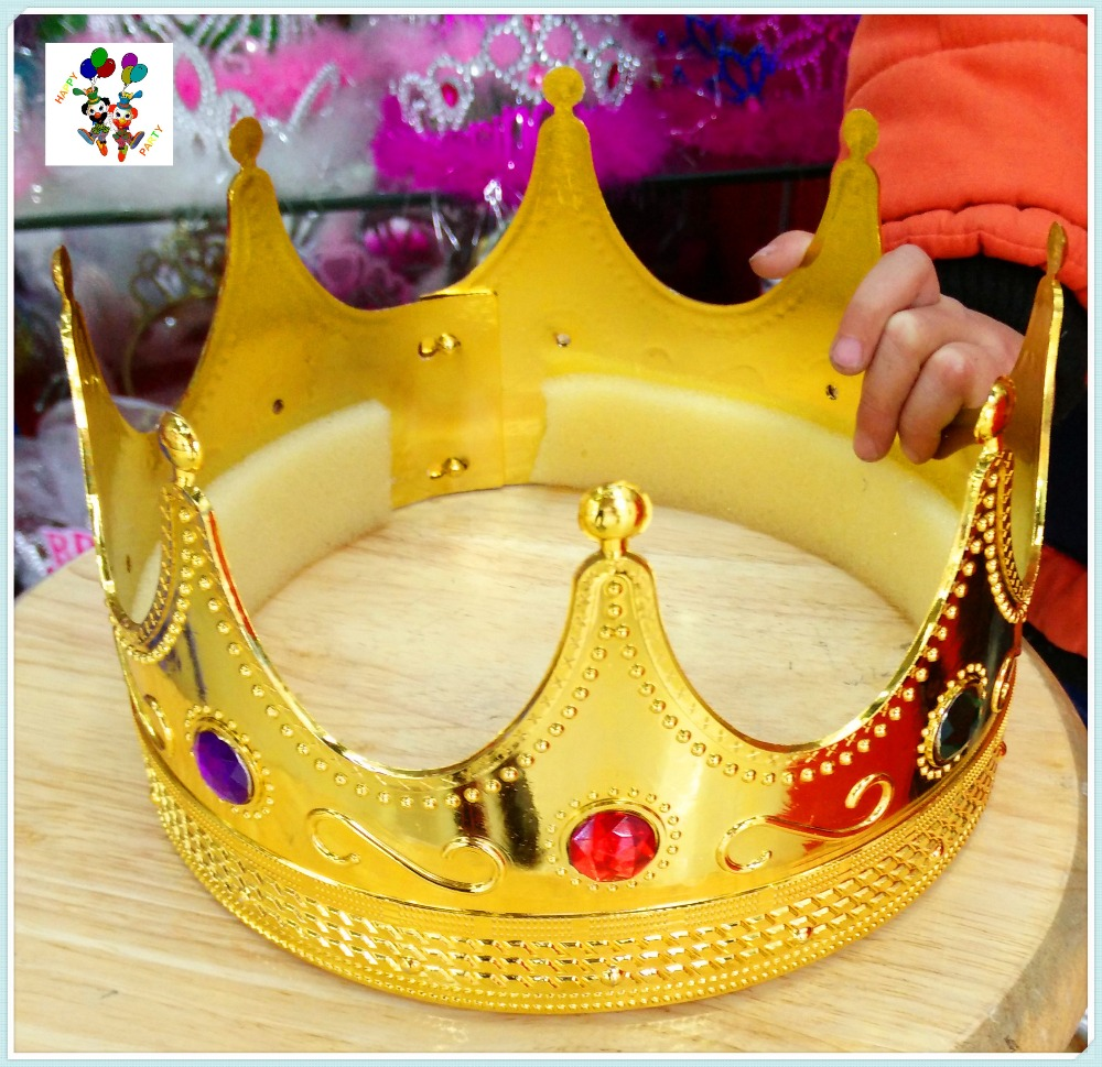Cheap Plastic Party Fancy Dress Large King Crowns HPC-2735