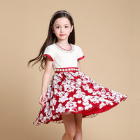 fashion kids party wear beaded floral new model flower girl dress patterns wholesale