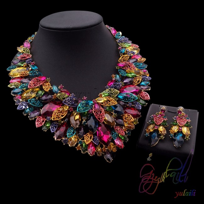 Flower Shape Jewelry Set wedding crystal rhinestone jewelry sets guangzhou fashion jewellery market