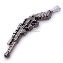 Fashion Jewelry Charming Pistol Gun Shaped Pendant Stainless Steel Necklace For Men