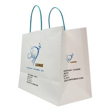 Wholesale Fancy White Kraft Paper Clothing Packaging Bag With Logo Printing