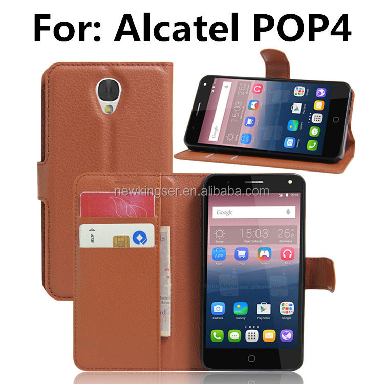 Hot Wallet Style PU Leather Case For Alcatel pop4 with Stand Function and Card Holder