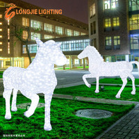 H:1.8m L:2.3m 3D led running horse/horse sculpture light for square decoration