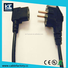 Euro Schuko 3 pin power plug to IEC 320 C13 female connector 10A 250V ac power cord
