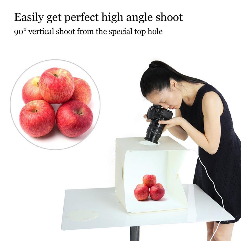 Portable Photographic Studio 20cm Mini Studio box with LED Light and Four backdrops