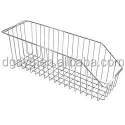 Chrome wire catheter basket - vertical - 600mm x 130mm x 150mm (DxWxH) Chrome wire catheter basket
