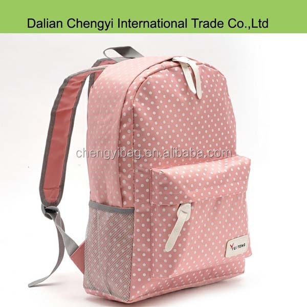 stylish dot printing nylon school bag for girls