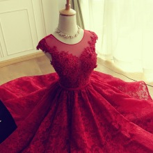W1109 2016 Red backless applique bridesmaids dresses matron of honor dresses