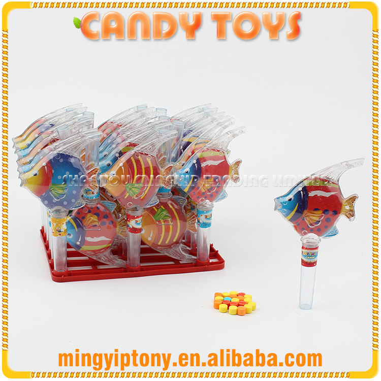 Wholesale colorful fruit flavour hard candy with tropical fish toy
