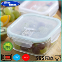 Customized Glass Food Container Plastic Cover Storage Square Shape