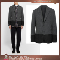 men black and grey matching fabrics blazer suit