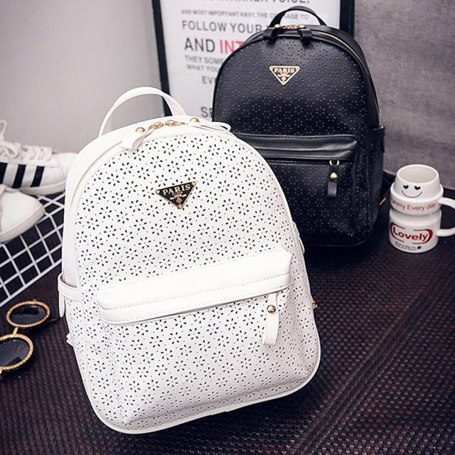 women backpacks fashion 2016 new arrived casual PU ladies backpack solid hollow out white black sweet student schoolbag,LB2010
