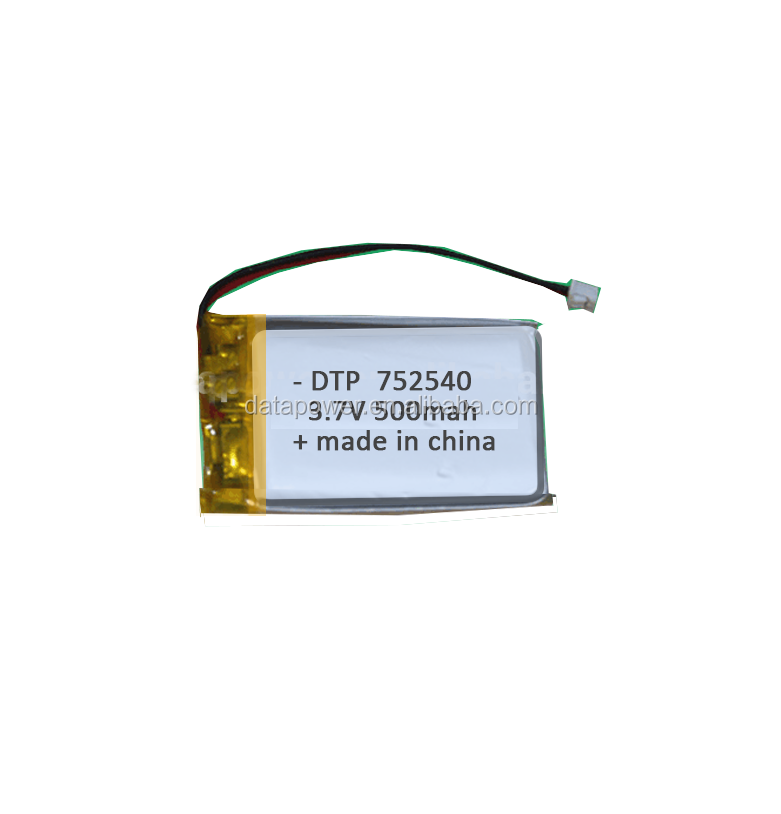 Popular Rechargeable 3.7 volts 752540 Mini Lithium Polymer <strong>Battery</strong> 3.7v 500mah Custom Size Lipo