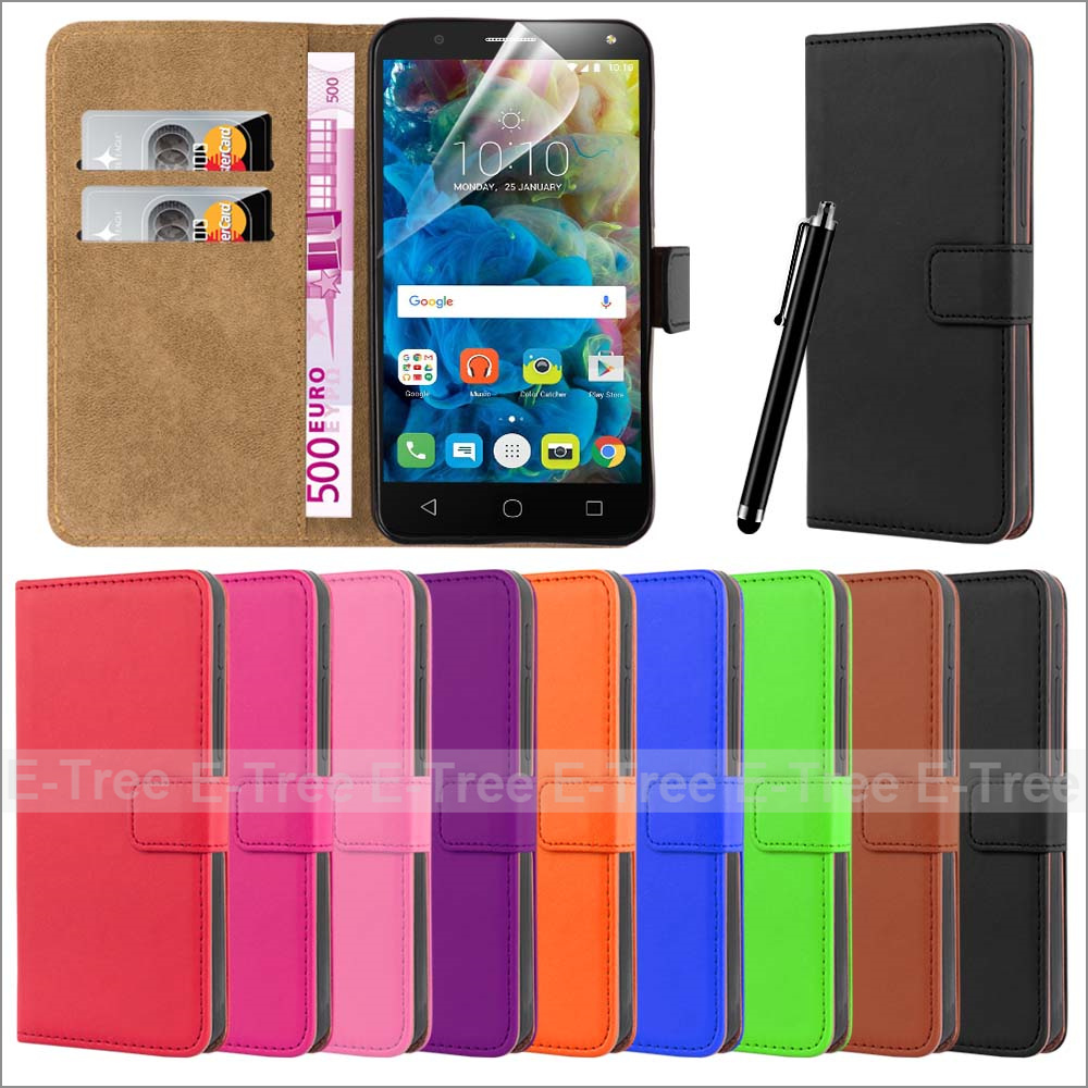 Luxury Leather Mobile Phone Case Card Holder Cover Stand Case for Alcatel Onetouch POP 4