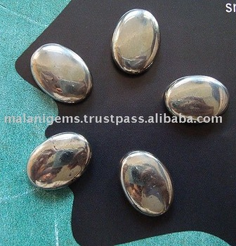 Natural Pyrite Oval Plain Cabochon