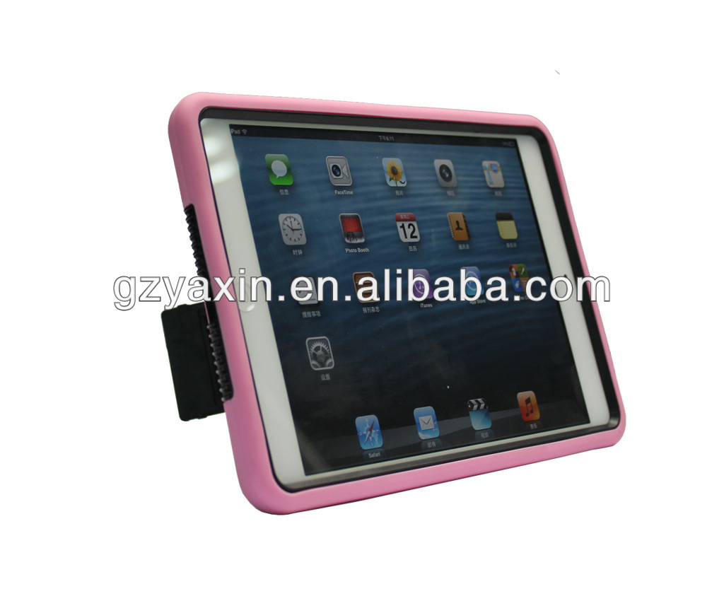 For APPLE iPad Mini TUFF Hybrid IMPACT Phone Case Natural Hot Pink/Black