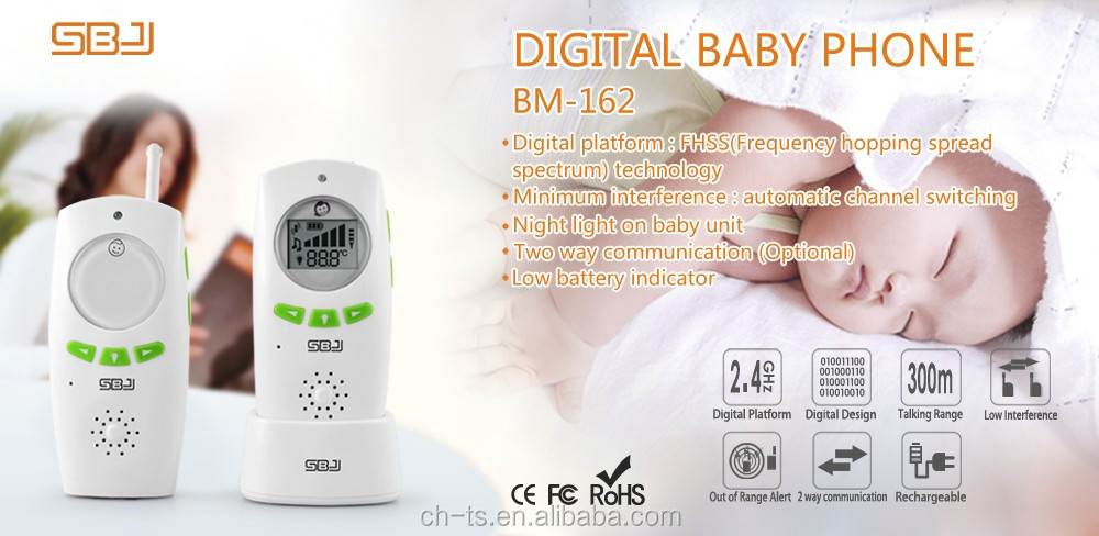 wireless digital long range two way communication audio baby monitor with charger stand