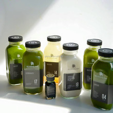 250ml and 300ml and 500ml 8oz and 10oz and 16oz french fresh clear glass bottle with plastic cap for cold pressed juice
