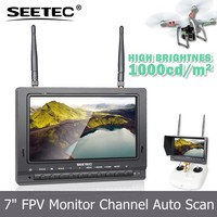 "FPV monitor 7"" fog screen 1000cdm2 brightness 2200mah battery 5.8GHz two receivers ready to fly rc quadcopter intruder ufo"