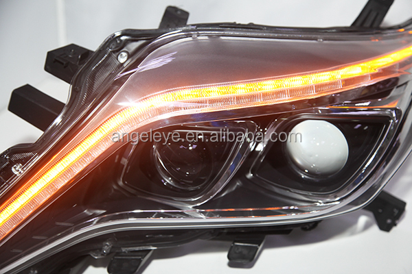 2014 year Prado FJ150 LED Headlight Angel Eyes with Projector Lens led strip Black Housing TLZ
