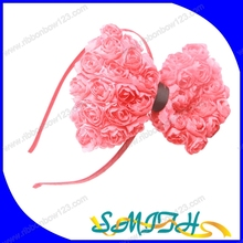 MSD wholesale large rose ribbon bow headband for girls/kids