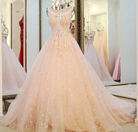RP32210 See through lace ball gown ladylike wedding factory dresses pink satin crystal corset wedding dress