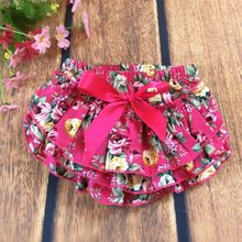 Baby Girl's Hot Pink Multi Layers Floral Bloomers with Ribbon Bow