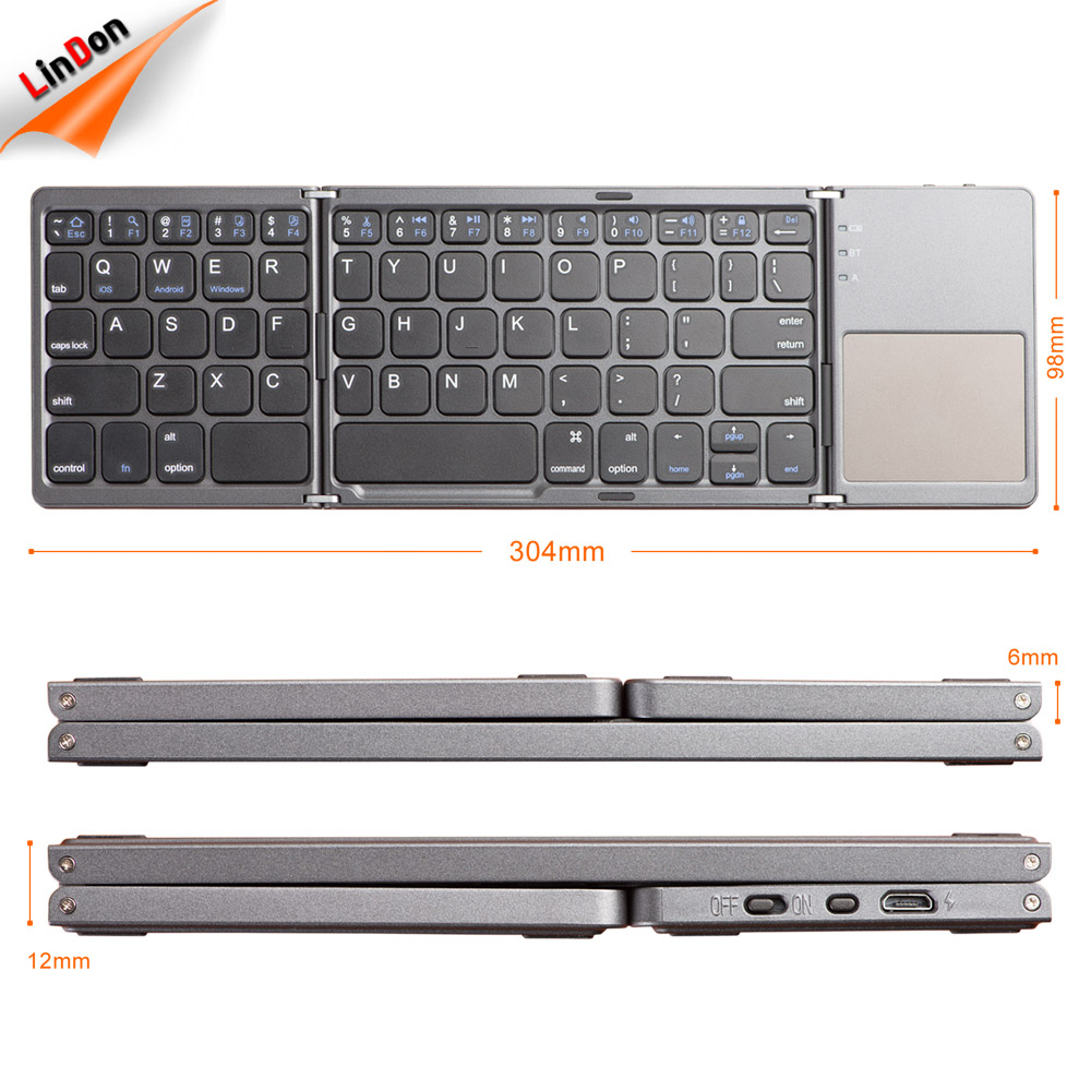 bluetooth foldable keyboard for apple iphone mini industrial metal keyboard folding keyboard