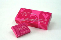 pretty fresh pink soft card soap box with tuck in ends flat packing