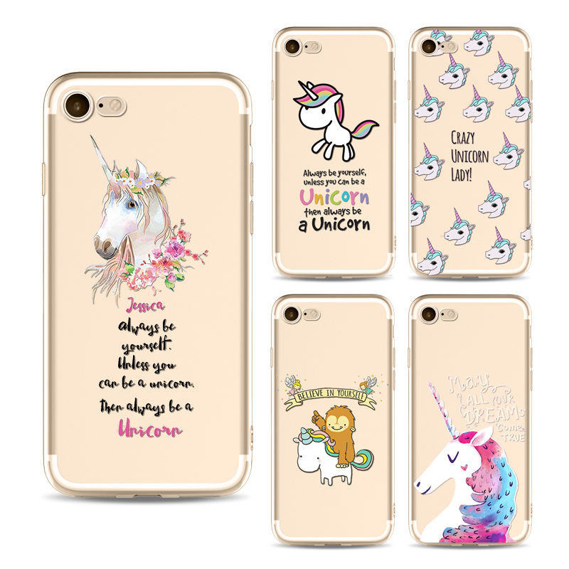 Wholesale Ultra-thin Cute Cartoon Unicorn TPU Silicon Phone Cases for Iphone x 8 8lus 7 7plus 6 6s 6plus 5c 5 5s