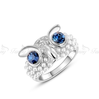 J164 Fashion jewellery ring owl shape ring unique cubic zirconia ring