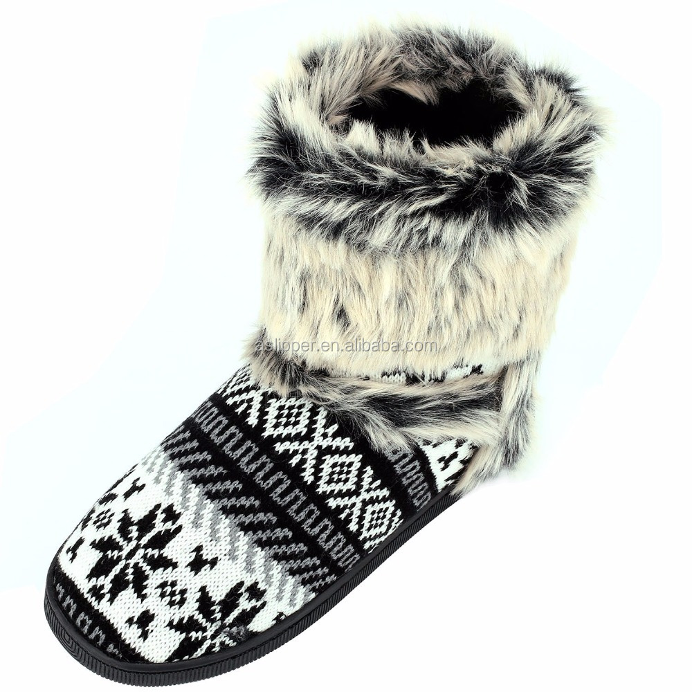 Womens Winter Warm Indoor Outdoor Slipper Mid Calf Boot Slippers boot