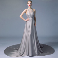 Sliver Halter Evening Gown Dresses 2018 Back Crystal Beads Turkish Hot Night Dress With Long Train