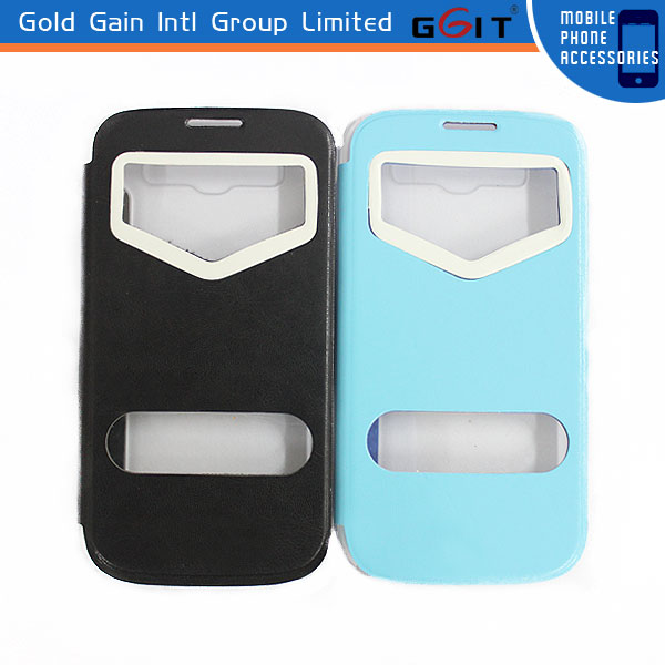 Original New Factory Price PC+Leather Flip Cover For Samsung S3 I9300 Flip Case With Double Window Leather Case For Galaxy S3