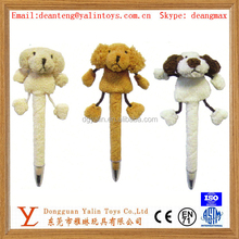 Hot sale decorative plush cute animal top ballpoint pen for promotion