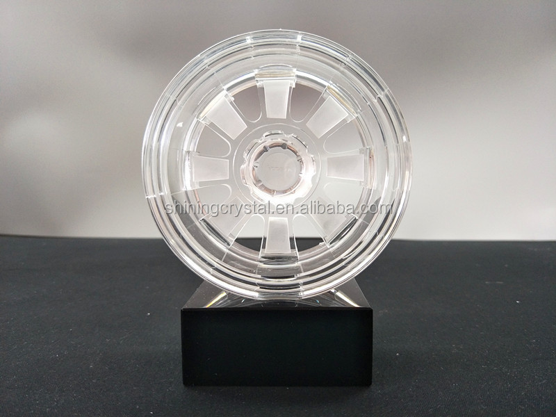 Wheel shape crystal glass award for promotion gift