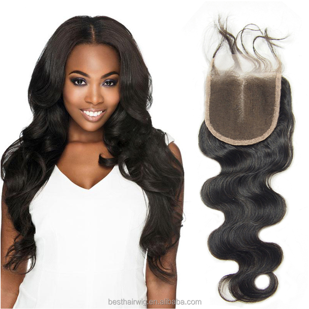 Natural color 4x4 top virgin brazilian body wave lace closures with skin part only for black women, three middle part brazilian
