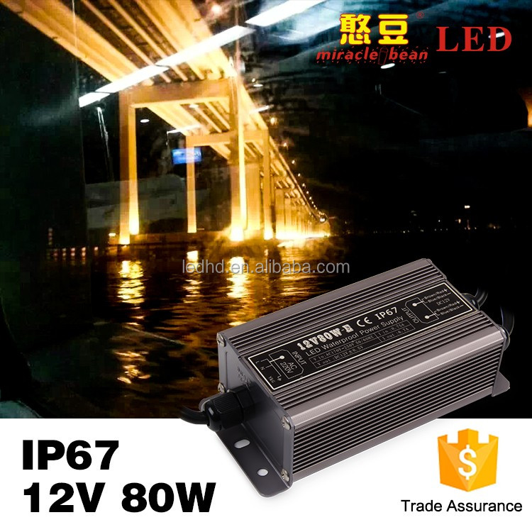 Miracle bean power supply 12v dc 80w waterproof led driver with CE ROHS certification for led lighting