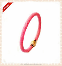 2017 Latest Fashion Jewelry Luxury Genuine Stingray Stainless Steel Magnetic Clasp Leather Bracelet