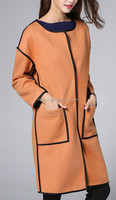 women long woolen coat/ best sale woolen dress for fashion lady/ most popular coat with expose seam