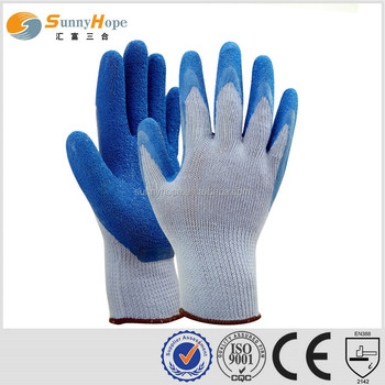 10 Gauge palm blue knit gloves