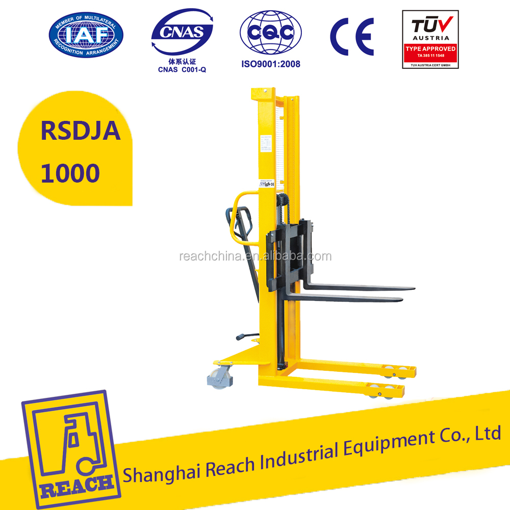 Hand Hydraulic Fork Lift Type Manual Pallet Stacker with adjustable forks