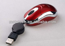 3D retractable mini wired optical mouse